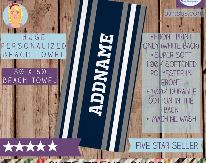 Silver Gray and Navy Stripes Beach Towel with Personalized Name, Custom Name Sports Stripes Beach Towels, Sports Style Towels, Sports Towels
