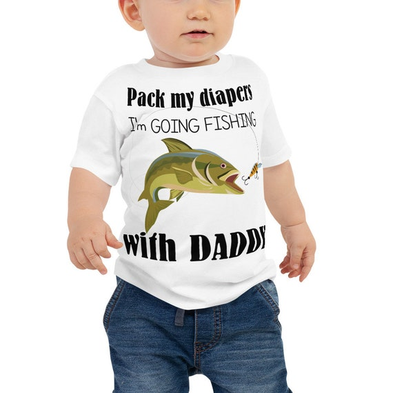 SALE Pack My Diapers I'm Going Fishing With Daddy - Funny Baby Jersey Short Sleeve Tee, Daddys Fishing Buddy,  Pregnancy Reveal