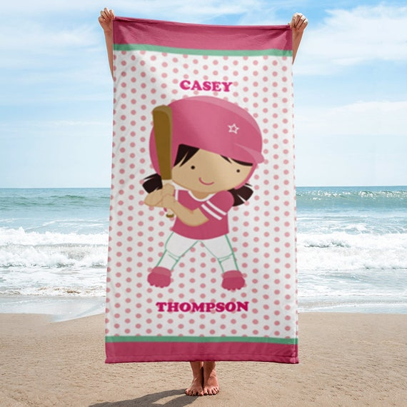 Unique Softball Gift Personalized Beach Towel | Personalized Beach Towel | Kids Beach Towel | Personalized Gift | Monogrammed Beach Towels