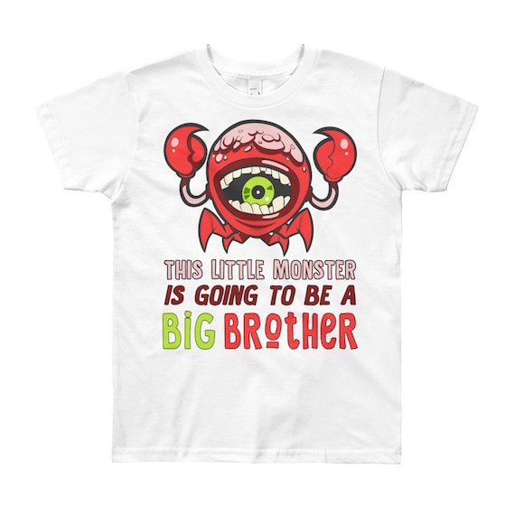 SALE This little monster is going to be a Big brother T-Shirt, pregnancy announcement, big brother, little monster, siblings