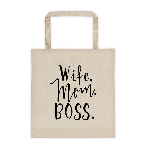 Wife Mom Boss Tote bag, Wife Appreciation Bag, Everyday Tote Bag, Canvas Tote Bag, Mom Tote Bag, Wife Tote Bag, Wifey Tote Bag, Honeymoon