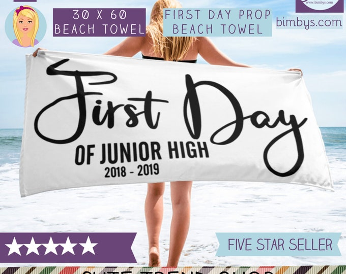 Frst day of school - Cack to school photo prop beach towel | 1st day of school | School party idea | Grade school sign | school memento