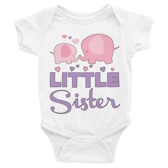 SALE!Little Sister Shirt, Sibling Shirt,Cute Elephants Little Sister Infant Bodysuit, Little sister romper, Baby girl clothes, Sister Outfit