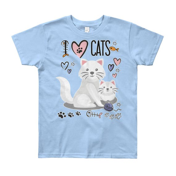 I Love Cats Kids T-shirt, I Heart Cats Kids Shirt, Cat Shirt, Cat Tee For Kids, Cat Print Shirts, Youth Fine Jersey Short Sleeve T-Shirt
