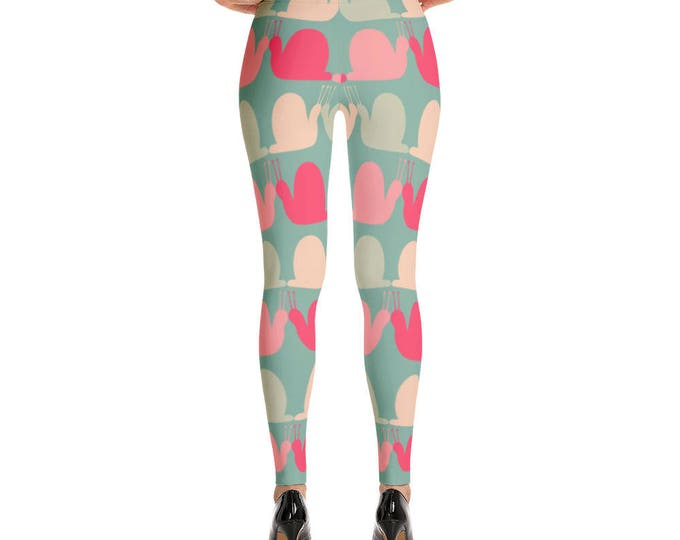 Girly Colorful Snails Pattern Print Leggings, Super Soft Women's Leggings, Unique leggings,Patterned leggings, Leggings tights for her