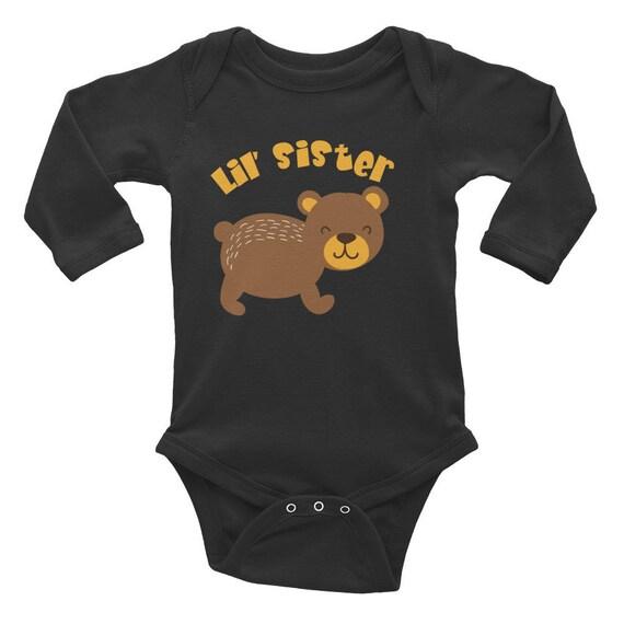 Little Sister Infant Long Sleeve Bodysuit, Baby Girl Coming Home Outfit, Little Sister, little sister infant bodysuit, Littel Sister Tops