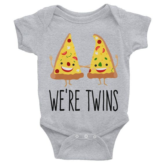 We are Twins Funny Pizza Nappy Infant Bodysuit Twin shirts Matching Outfits Baby shower gift Twin Bodysuits Twin Outfits Twin Baby Clothes