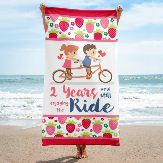 Gift for Her, 2nd Anniversary Gift Beach Towel, Cotton Anniversary, Gift for Her, 2 Years Anniversary Gift, 2nd Wedding Anniversary, Wedding