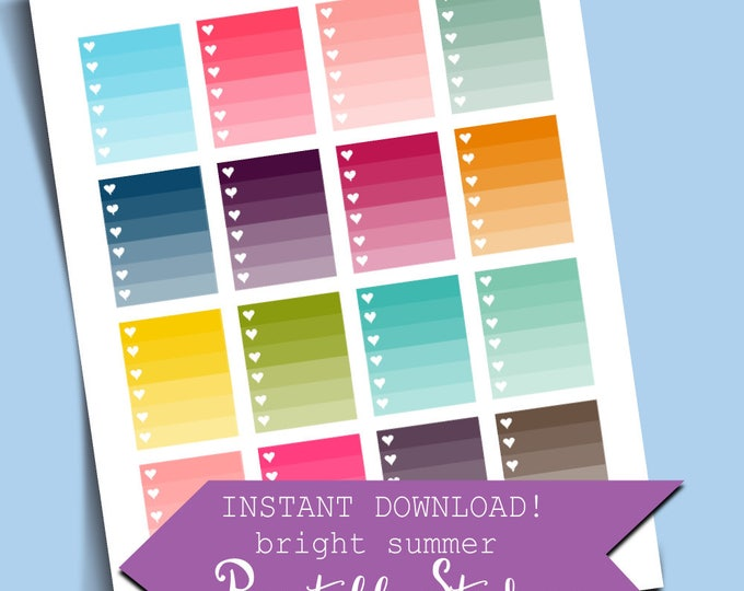 ON SALE Colorful Summer Stickers Full Box Ombre Checklist Stickers Printable Sticker Erin Condren Sticker Digital Stickers Cute HP Stickers