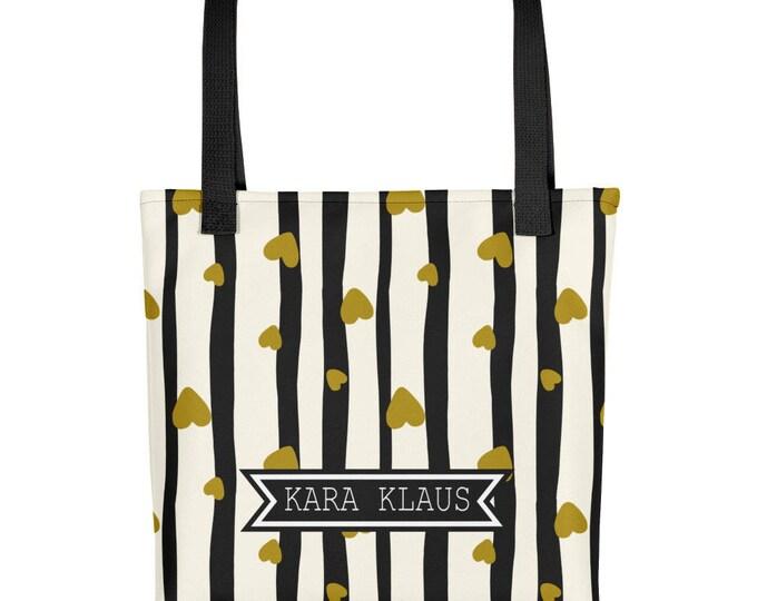 Gold Hearts Tote | Black and White Stripes Custom Name Tote | Personalized Name Tote | Bridesmaid Tote Bags | Bridesmaid Bag | Wedding Tote