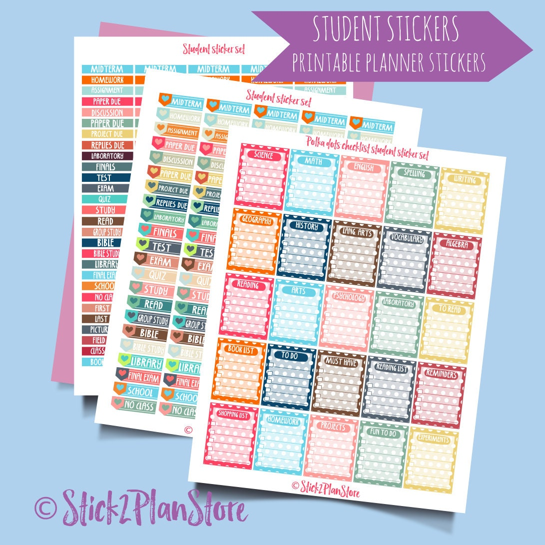 photo regarding Printable Student Planner Download referred to as College student Business enterprise Printable Planner Stickers. Immediate