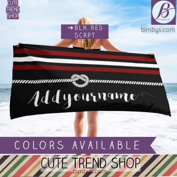 ON SALEPersonalized Monogram Beach Towel - Rope Knot Custom Towels - Monogram Towels - Personalized Towels - bathroom, personalized gift