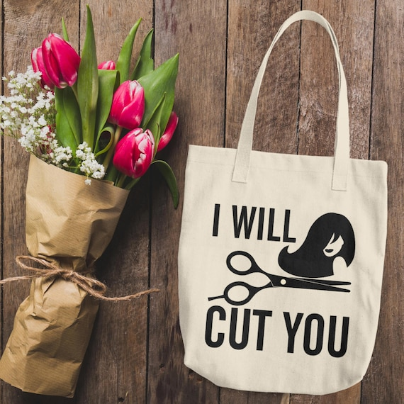 Funny Hairdresser Cotton Tote Bag   I Will Cut You Tote Bag   Hairdresser Bags   Beautician Tote bag   Gifts for Hairdresser   Funny Tote