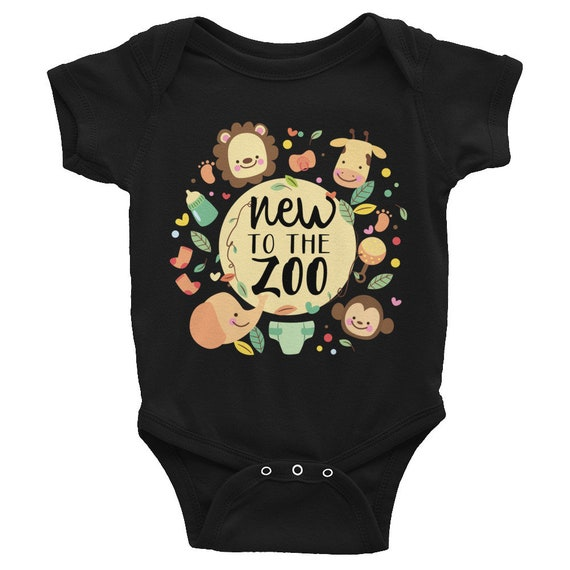 ON SALE!! New to the Zoo - Safari Animals Infant Bodysuit, Cute Animals baby Onepiece, Custom Baby Outfit, Personalized Baby Tee