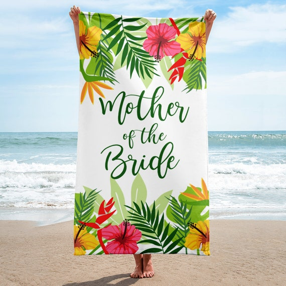 Mother of ther Bride Wedding Beach Towel   Beach Wedding Towel   Tropical Wedding Towels   Mother Bride Gift, Mother of Bride Gift   Mother
