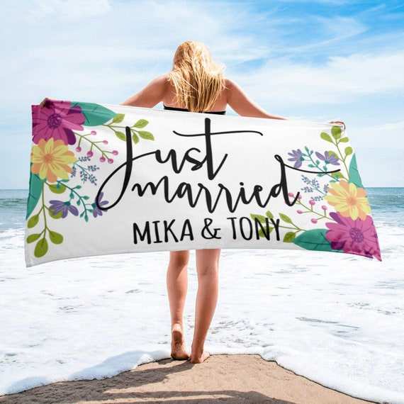 ON SALEJust Married Personalised Wedding Beach Towel | Bridal Shower Gift | | Gift for Bride | Newlywed Gift | Bridal Shower Gifts for Bride