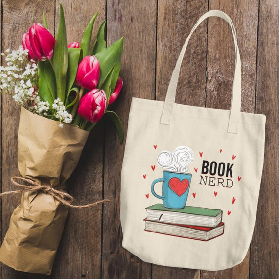 Coffee and Books Tote   Cotton Tote Bag   Book Nerd Tote Bag   Women's Book Nerd Canvas Tote Bag   Book Lover Reusable Tote Bag   For Her