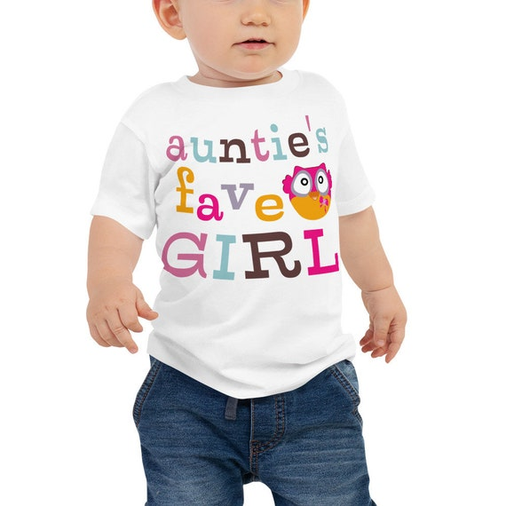 SALE Auntie's Fave Girl Baby Jersey Short Sleeve Tee, Owl Print Baby Shirt, Colorful Design Baby Tee