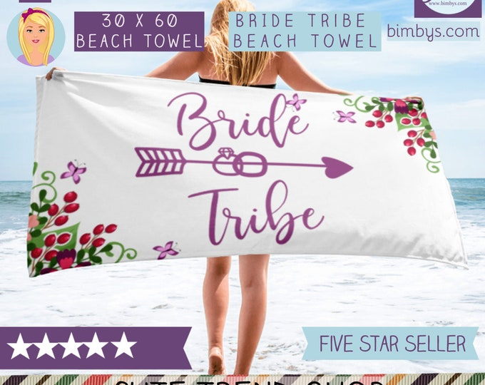 Bride Beach Towel - Bride Tribe Beach Towels - Beach Bridal Shower Towel - Beach Bride - Bridal Shower Gifts For Bride - Beach Bachelorette