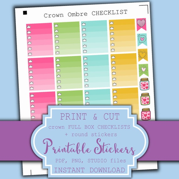 Planner Full Box Stickers Printable - Erin Condren Planner Stickers - Crown Checklist Stickers - Ombre full box stickers | Printable Planner