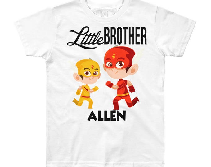 Custom Superhero Little Brother T-Shirt   Personalized Name Little Brother Shirt   Matching Sibling T-Shirts   Little Brother Outfit