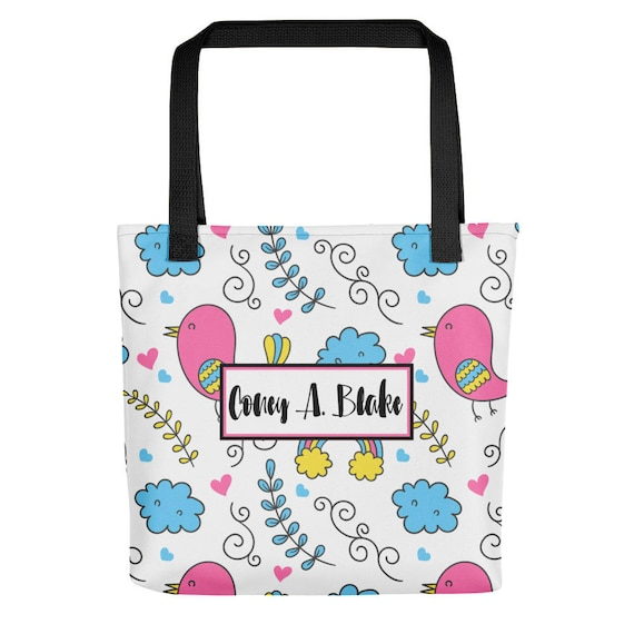 Personalized Name Whimsical Bird Pattern Tote bag | Custom Tote Bag | Personalized Tote | Personalized bag | Reusuable bags | Shopping bag