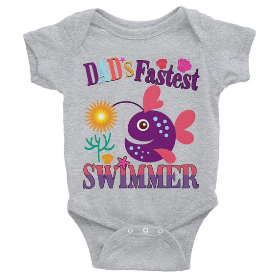 Cute baby Bodysuit , Dad's Fastest Swimmer - Funny Baby Nappy, Cute baby clothes, Baby bodysuit, Cute baby snapsuits, New baby, Trendy baby