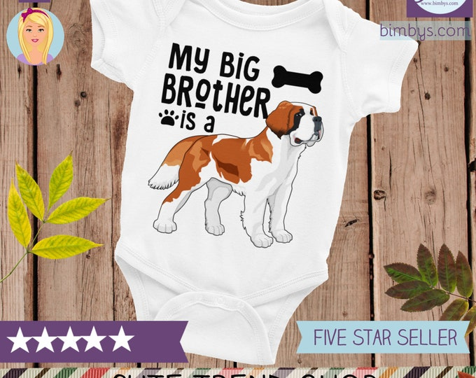 Dog Print Big Brother Baby Bodysuit, baby shower gift, baby snapsuit, baby bodysuit, funny baby oesie, dog big brother, Big Brother