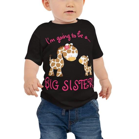 SALEI am Going to be a BIG Sister with Cute Giraffe Print Kids T-Shirt, Big Sister to be Baby Jersey Short Sleeve Tee, Giraffe Design