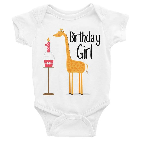 Girl's Birthday, Giraffe Birthday Shirt, Birthday Girl Snapsuit, First Birthday Infant Bodysuit, Cute Giraffe Cupcake Birthday Kids Shirt