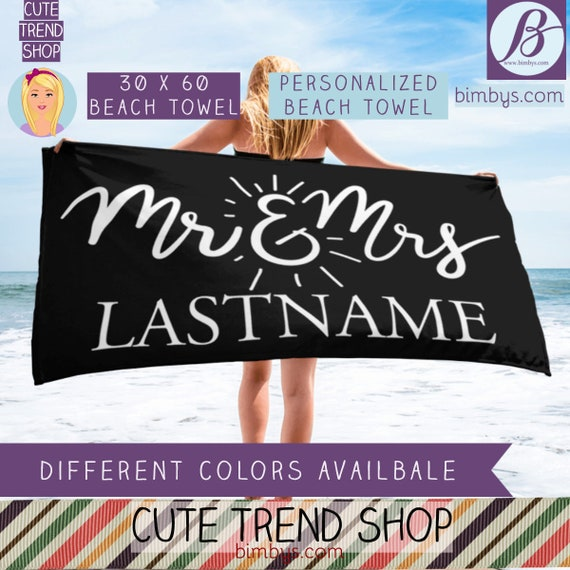 ON SALEPersonalized Wedding Gift | Mr and Mrs Beach Towel | Newlywed Gift | Wedding Gifts | Housewarming Gift | Engagement and Newlywed Gift