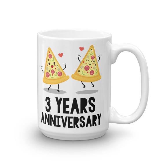 3rd Year Anniversary Mug, 3rd Anniversary Coffee Mug, Funny Anniversary Gifts, Pizza Anniversary Coffee Mug