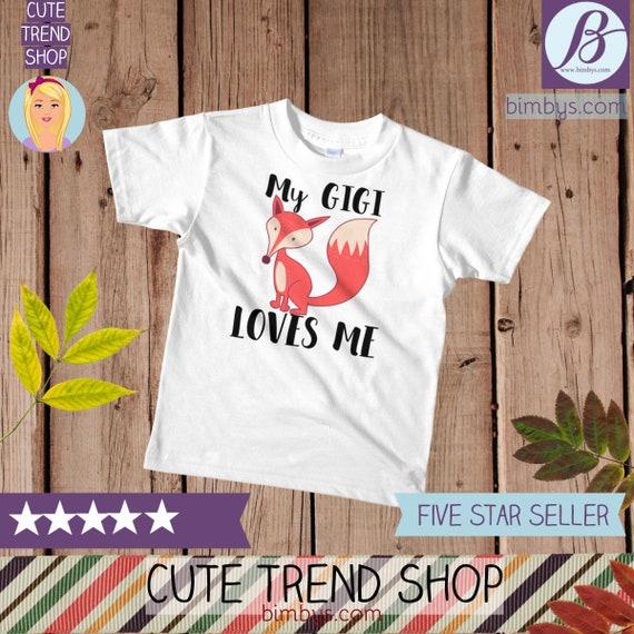 SALEFOX Gigi kids t-shirt, kids fox shirt, My Gigi Loves Me Kids Shirt, gigi shirt, gigi gifts, gigi t shirt, boho kids shirt