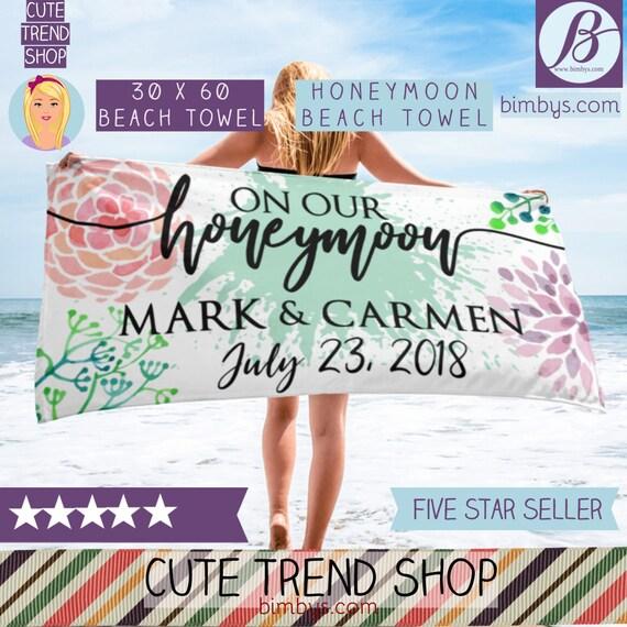 ON SALE !! Wedding Beach Towels , Custom Names Beach Towels, Honeymoon Beach Towels, Personalized Beach Towel - Honeymoon Gifts Bestseller