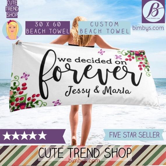 ON SALECustom Wedding Day Beach Towel - Personalized beach Towel - Custom Name Bride Beach Towels - Wedding Beach Towel