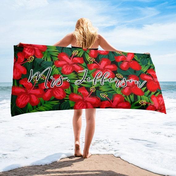 ON SALECustom Monogram Beach Towel, Tropical Beach Towel, Custom Name Towel, Personalized Name Towels, Custom Bridesmaid Gift, Wedding Favor