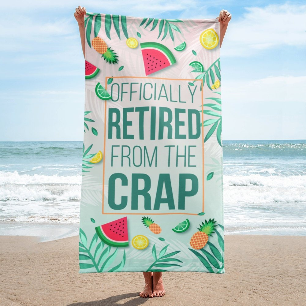 retirement gift idea, funny retirement beach towel | retirement gift