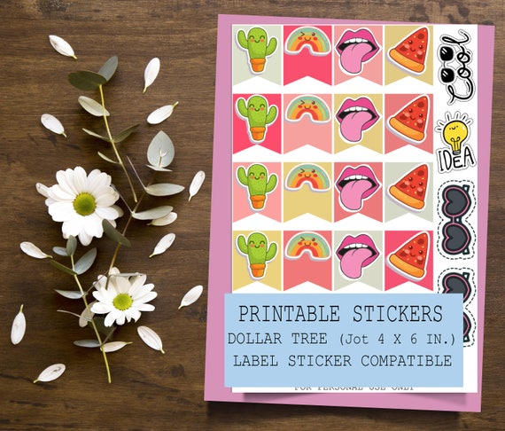 Cute Printable Sticker Dollar Tree Jot Sticker Compatibe | 4x6 inches Printable Planner Stickers | Planner Stickers | Printable Stickers