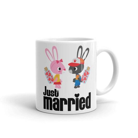 Just Married Mug | Cute Couple Bunnies Mug | Wife Mug, Groom Mug | Wedding Day Gifts Couples Mug Wedding Day | Mug Wedding Gift