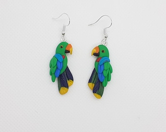 Eclectus parrot male  - handmade fimo earrings from polymer clay