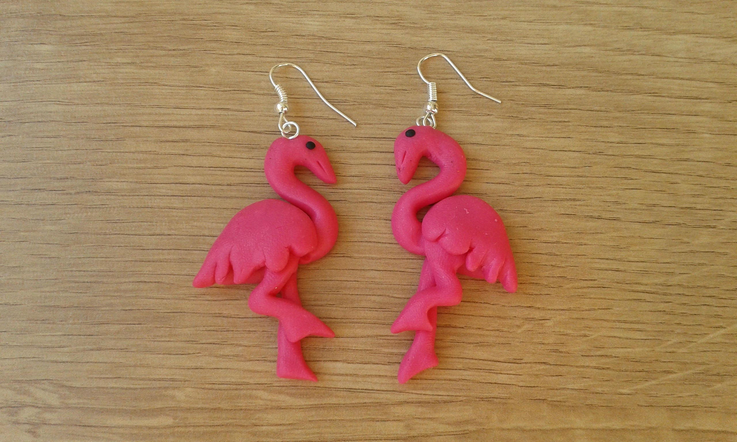 Flamingo exotic bird earrings handmade fimo flamingo | Etsy