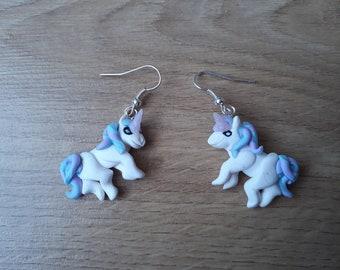 Pastel Pegasus unicorn horse earrings, handmade fimo clay pegassus