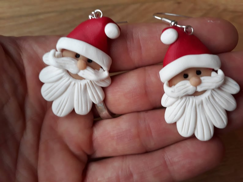 Christmas Santa earrings  and necklace Father Christmas handmade fimo clay earrings and pendant necklace Santa Claus
