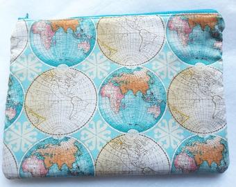 Globe Clutch tas, Globe tas, kaart van de wereld-etui, Zippered clutch tas