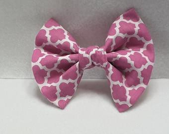 Pink hair bow,fabric hair accessories,fabric hair bow