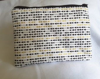 Gold and Black purse, zippered gold clutch, gold white or black accent bag