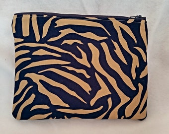 animal print inspired zippered purse, Printed purse, brown and blue bag, cosmetic pouch