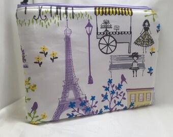 Paris bag,Paris clutch, purpe paris purse, Paris fabric bag