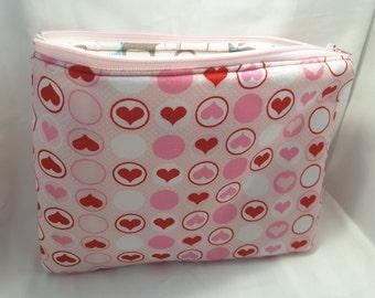 pink hearts clutch, pink hearts bag, pink hearts handbag , hearts purse