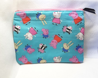 peppa pig bag, peppa zippered purse, cosmetic bag, toiletry bag